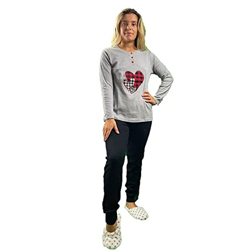 Infiore Pijama para mujer de puro algodón cálido art. BTE0563, gris, Small