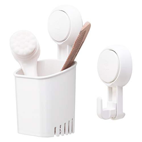 TAILI DIY Zahnbürstenhalter, bohrfrei, abnehmbar, starker Vakuum-Saugnapf Zahnpasta Rasierer Halter mit 1 extra Haken für Bad & Küche Zubehör