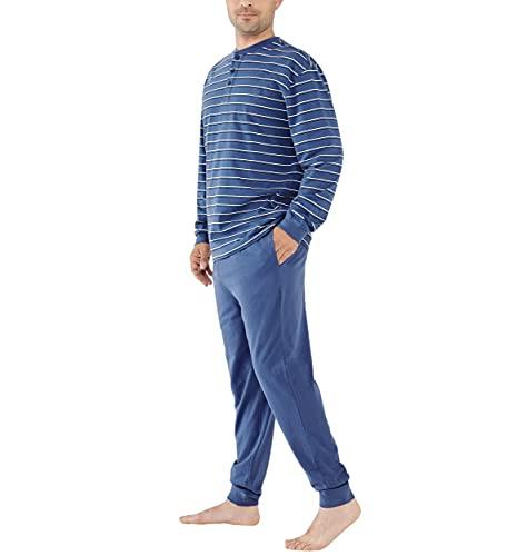 El Búho Nocturno - Pijama Hombre Largo Tapeta Punto Rayas Azul 100% algodón Talla 2 (S)