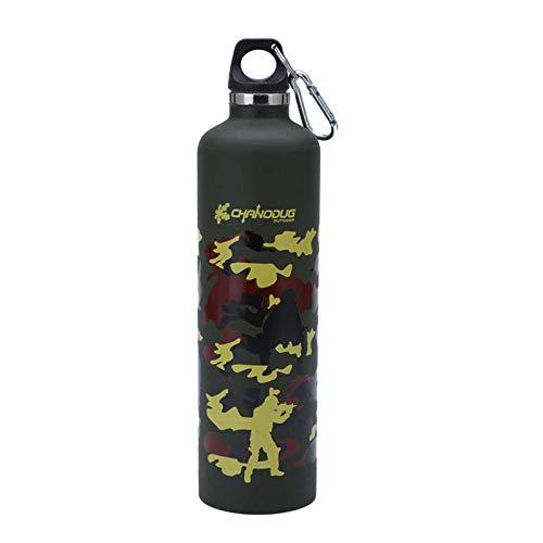 WENSISTAR Sport Wasserflasche ,750ml doppelschichtige Sportflasche, Camouflage-Isolierflasche aus Edelstahl,Vakuum Flasche Sportflasche