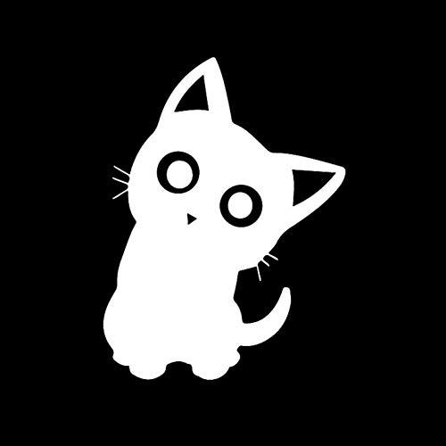 XCWQ Autosticker, 11,3 x 15 cm, zonwering, grappige vinylsticker, schattige katten, cartoon, dier, kat, raamdecoratie, krassen, persoonlijkheid zilver.