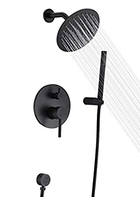 Black Shower Fixtures, Matte Black Shower Faucet Set, Black Shower System with Rain Shower and Handheld,Sumerain