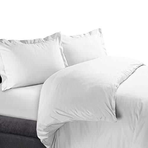 Royal Hotel Solid White 300-Thread-Count 3pc King/Cal-King Duvet-Cover 100-Percent Cotton, Sateen Solid, 100% Cotton