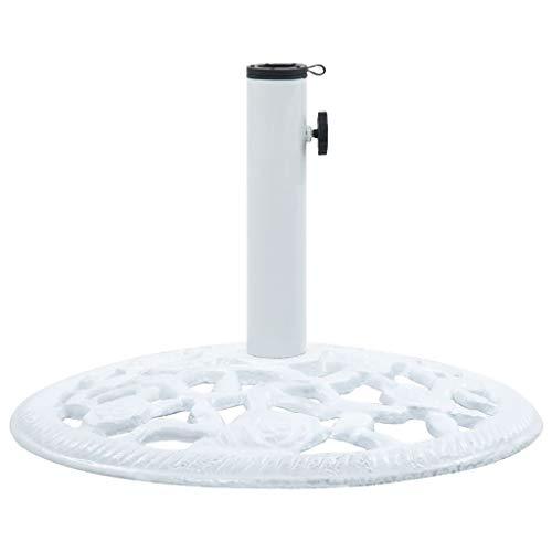 Festnight Base de Sombrilla de Hierro Fundido Pie de Sombrilla Soporte para Parasol de Jardín Blanco 12 kg 48 cm
