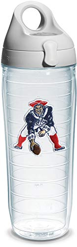 Tervis NFL New England Patriots Legacy Emblem Individual Water Bottle with Gray Lid, 24 oz, Clear