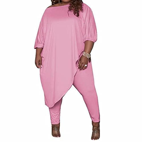 IyMoo Women's Plus Size 2 Piece Outfit - Casual Slant Shoulder T-Shirts Workout Tracksuit Bodycon Pants Jumpsuit Rompers Pink XL