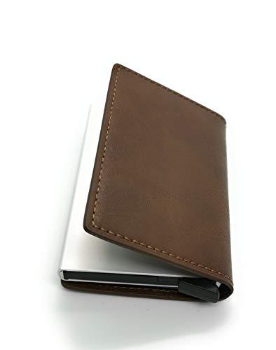 J&J - Porta Tarjetas de crédito de Piel y Aluminio antifraude, Porta Papel rígido con protección RFID automática, Porta Tarjetas Elegante para Viajes y Negocios - Mujer y Hombre