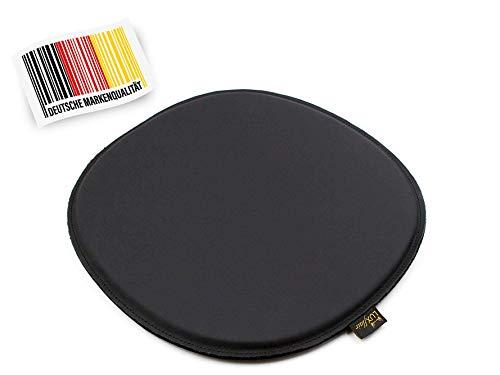 Luxflair Premium 4er Set Echt-Leder-Sitzkissen oval mit Filz Unterseite in schwarz, gepolstert, Leder Sitzpolster für Stühle und Bänke, Stuhlkissen, Stuhlpolster in 36,5 x 32,5cm, leicht zu reinigen