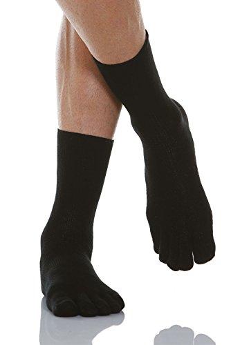 Calcetines con dedos para diabéticos - con fibra de plata X-Static. Negro.