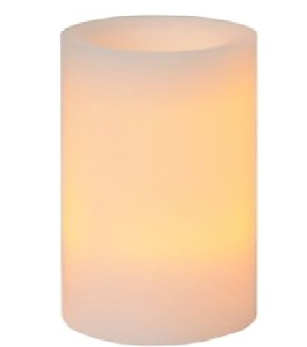 Riesen LED Echtwachskerze Ø20xH25 cm mit 3 LEDs batteriebetrieben weiß Timerfunktion