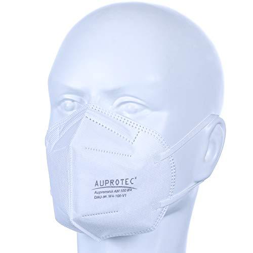 AUPROTEC 10 Stück Premium Mehrweg Mundschutz Maske mit innen liegendem Vlies 4 lagig sehr gut für Mund- und Nasenschutz weiß