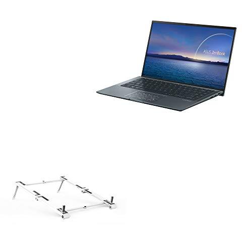 Suporte e suporte BoxWave para ASUS ZenBook 14 Ultralight UX435 [suporte de alumínio de bolso 3 em 1] Portátil, suporte de visualização em vários ângulos para ASUS ZenBook 14 Ultralight UX435 - Prata metálica