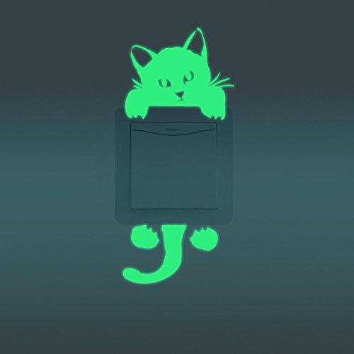 Bazaar Mooie Luminous Switch Sticker verwijderbare Glow In The Dark Muurtattoo Home Decor Cat Alien Kaars