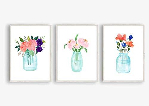 Din A4 Kunstdruck ungerahmt 3er Set Vase mit Rosen Pfingstrosen Blumen Blumenstrauß Kornblume Aquarell Druck Poster Bild