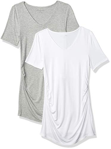 Amazon Essentials Maternity 2-Pack Short-Sleeve Rouched V-Neck T-Shirt, Hellgrau Meliert/Weiß, M