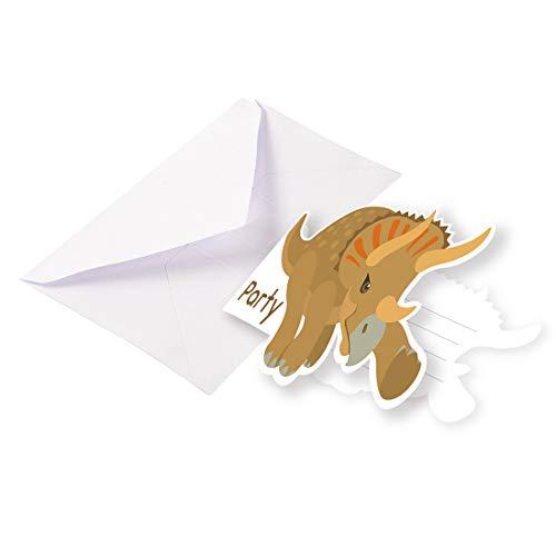 NET TOYS 8 Invitaciones de cumpleaños Dinosaurio - 8,5x12,7cm - Moderno Accesorio de Fiesta T-Rex Tarjetas de invitación con sobre - Inmejorable para Fiestas Infantiles y Fiestas de cumpleaños