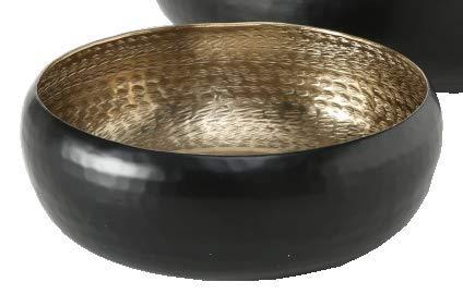 Meinposten. Dekoschale Gold schwarz Metall Kerzenschale Hammerschlag Schale Ø 25 oder 35 cm B-Ware (Ø 25 cm)