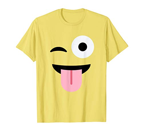 Cool Cute Emoji Stuck-Out Tongue Winking - Lazy Costume Tee T-Shirt