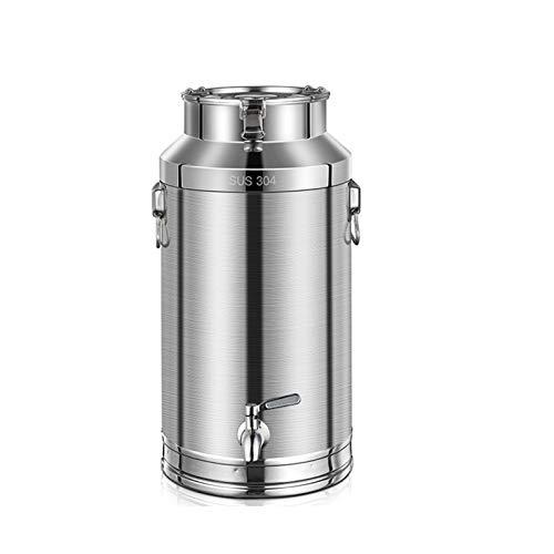 Bote de acero inoxidable 304 para leche, cubo hermético para almacenamiento de vino, lata grande con cabezal de rueda de agua, fermentador, cocina para preparar el hogar (tamaño : 48L)