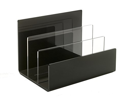 Unum Acrylic Desktop File Organizer - Holds Folders, Mail, Letters, Homework - File Sorter/File Folder Holder/Electronics and Laptop Holder - Handcrafted of Premium Black and Clear Acrylic
