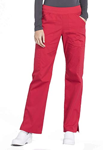 Cherokee Workwear Professionals Mid Rise Straight Leg Pull-on Cargo Scrub Pant, L Petite, Red