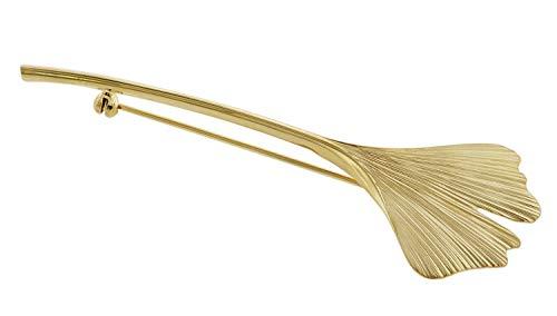 trendor Brosche Gingko-Blatt Gold auf Silber zauberhaftes Schmuckstück aus Sterlingsilber für Damen, Accessoire für Frauen, elegante Geschenkidee, 75724
