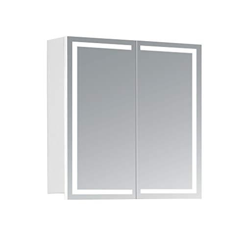 HAPA Design Spiegelschrank Milano weiß mit LED Beleuchtung in Lichtfarbe 4000K, VDE Steckdose, Softclose Funktion und verstellbaren Glas Ablagen. Komplett vormontiert. SGS geprüft. (60 x 60 x 14 cm)