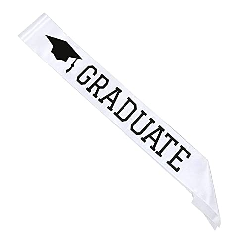 YJDLC Cinturón de Fiesta Graduate Boy Girl Unisex Satin Sash High School College Graduation Party Decoration Suplementos de Regalo Photo Booth Props Decoración de Accesorios ( Color : White )