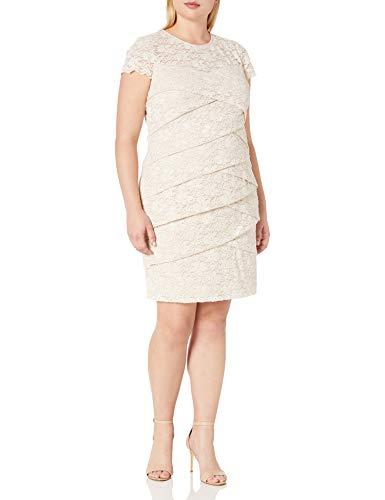 London Times Women's Plus Size Layered Lace Sheath Dress, Champagne, 18W