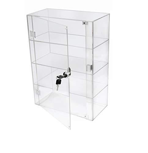 PC3721® 1 Vitrina de 3 estantes de acrílico Transparente de Alto Brillo con Puerta Frontal y Bloqueo de Seguridad DB088A-06IN