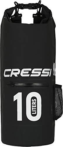 Cressi Dry Bag, Sacca/Zaino Impermeabile per attività Sportive Unisex Adulto, Nero con Zip, 10 LT