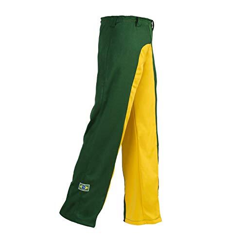 JL Sport Authentiques Brésilien Capoeira Arts Martiaux Pantalons pour Unisex (Vert Et Jaune) - XXL