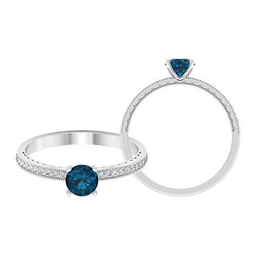 Anillo solitario de topacio azul Londres de 5 mm, 1/3 quilates HI-SI diamante lateral, anillo de compromiso milgrain dorado, 14K Oro blanco, topacio azul - london, Size:EU 44