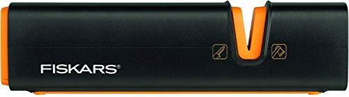 Fiskars Aiguiseur pour haches et couteaux, Pierre à aiguiser en céramique/Boîtier en plastique renforcé de fibre de verre, Noir/Orange, Xsharp, 1000601