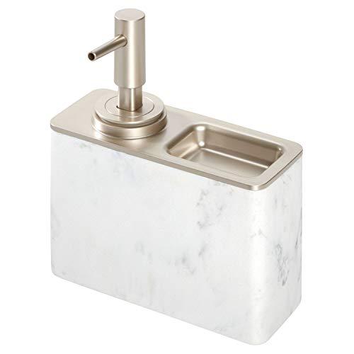 iDesign Dispenser sapone liquido ricaricabile con ripiano, Grande dosatore sapone bagno in metallo e resina stile marmo, Erogatore sapone liquido capacità 295 ml, bianco e argento