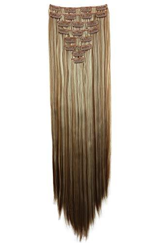 PRETTYSHOP XXL 8 pièces SET tête entière Clipser dans les extensions Extension de cheveux postiche résistant à la chaleur lisse 60 cm mélange blond foncé # 27H613 CES14a