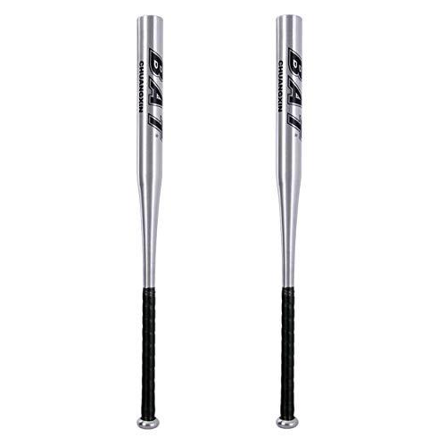 DeHasion 2 Packs Baseball Bat 25 Inch Aluminum Alloy Thickened Baseball Bat Home Defense and Personal Self-Defense (Silver)