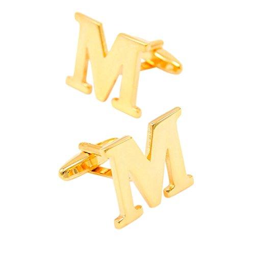 Bishiling Mode Edelstahl Manschettenknöpfe Herren Hochzeit Buchstabe M Manschettenknöpfen Gold
