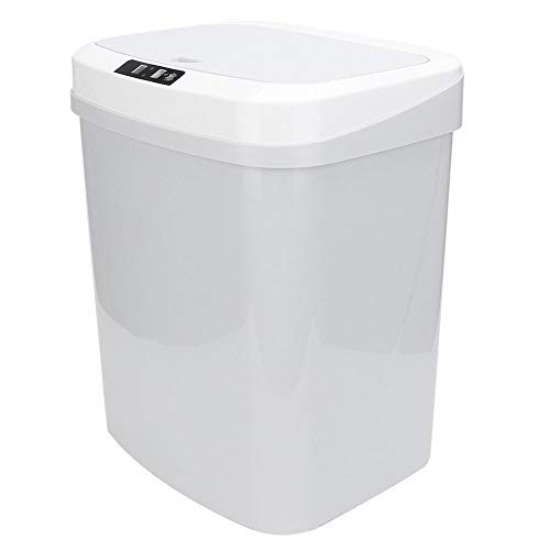 Cafopgrill Contenedor de Basura con Sensor de Movimiento de inducción Inteligente sin Contacto automático de 15L, Reciclador de Basura Rectangular para Cocina sin Contacto (Blanco)(Battery Type)
