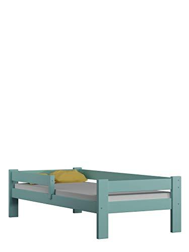 Children's Beds Home Letto Singolo in Legno massello - Salice Senza cassetti Senza Materasso Incluso (160x80, Blu)