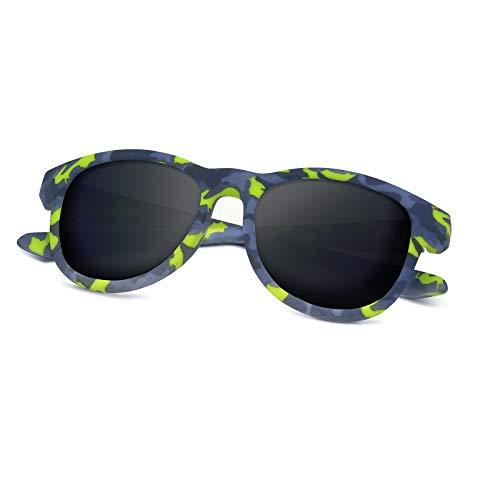 ACBLUCE Kids Polarized Sports Sunglasses TPEE for Girls Boys Youth Children Age 5-13 with UV Protection (Frame: Matt Green Grey Tortoise/ Lens: Grey)