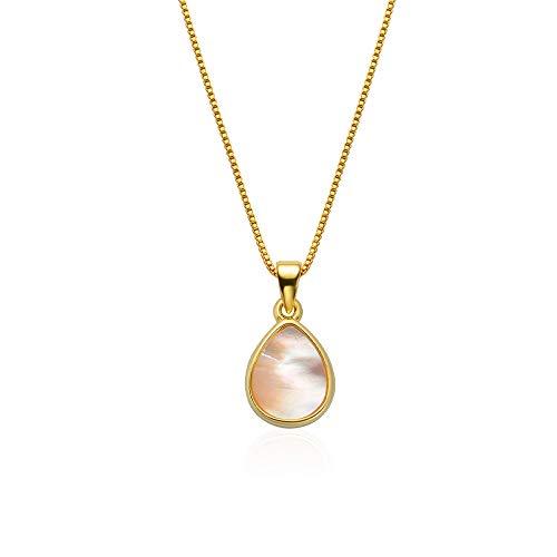 SelaVogue Collar para mujer chapado en oro de 18 quilates, 45 cm, con amuleto de piedra natural, Yellow Gold, Caracol blanco,