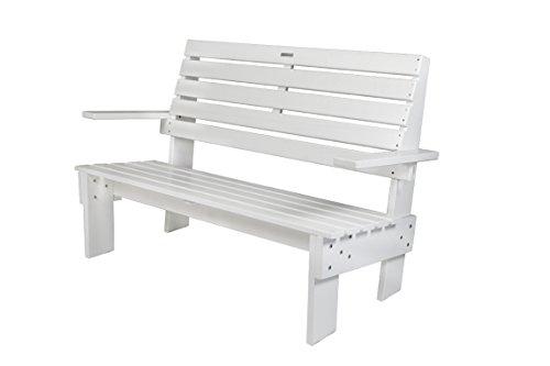 Gartenbank 'famous design' weiß 120 cm, aus exklusivem Mahagoni Hartholz, Gerrit Rietveld Replik