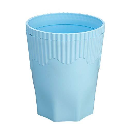 ZWFS Vuilnisbak Huishoudelijke Plastic Onbedekte Vuilnisbak Blauwe Drukbak met Drukring Geschikt voor Badkamer Keuken Woonkamer Slaapkamer