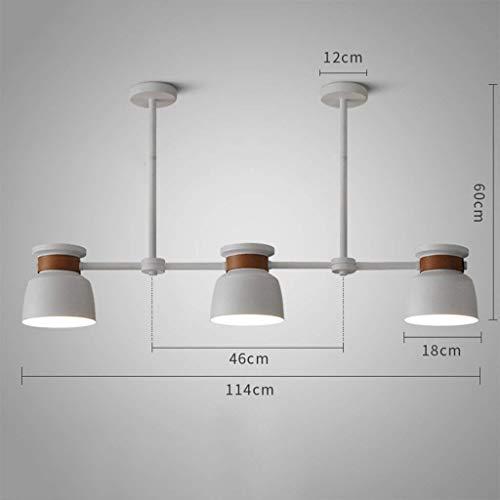 CENPEN Luces pendientes, 3 cabezas de estilo industrial simple de la lámpara retráctil Restaurante Bar café de la tienda de la lámpara, blanca (Color : White)