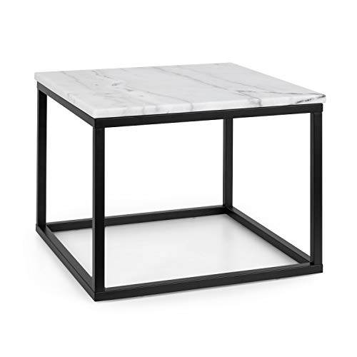 Besoa Volos - Couchtisch, Kaffeetisch Beistelltisch, Tischplatte: weißer Marmor, Indoor & Outdoor, Gestell: Metall, 20 x 20 mm, Farbe: Schwarz/Weiß, Größe: 50 x 40 x 50 cm (BxHxT)