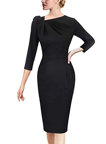VFSHOW Womens Black Pleated Asymmetric Bow Neck Work Business Office Cocktail Party Bodycon Pencil Sheath Dress 3813 BLK L