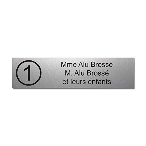 Mygoodprice - Placa grabada para nombre y número de buzón autoadhesivo, 10 x 2,5 cm, personalizada, 1 a 3 líneas de aluminio cepillado