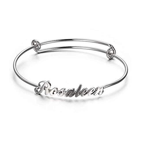 LONAGO Braccialetto personalizzato con nome in argento Sterling 925, personalizzabile con qualsiasi nome, gioiello per amici, compleanno, donna e Argento, cod. JTSDB0016-S-B