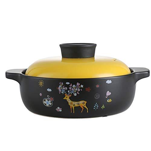 ROLL Casserole Vaisselle émaillée ronde Marmite avec couvercle à gaz des ménages à haute température Résistance Cocotte pratique antifissurant Convient for tous Hobs, Jaune